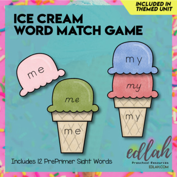 Ice Cream Word Match Game-Summer Fun