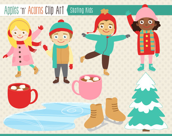 Ice Skating Clip Art - color and outlines
