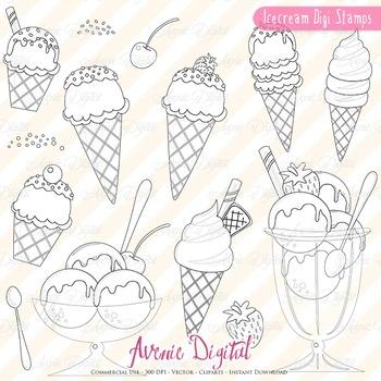 Ice cream digital stamps Scrapbook printable, Dessert line