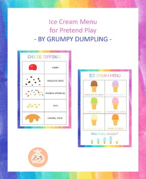 Ice-cream Menu for Pretend Play