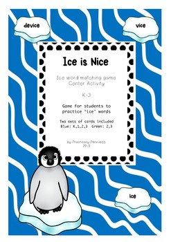 Ice is Nice - words ending in ice - center game