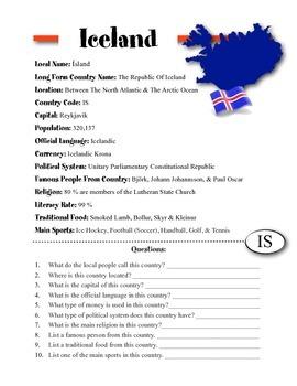 Iceland Information & Worksheet