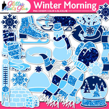 Winter Morning Clip Art {Frosty the Snowman, Snowflakes, S