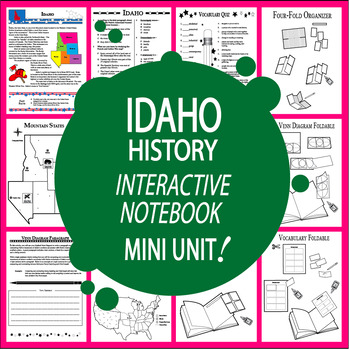 Idaho History Interactive Notebook Mini Unit + AUDIO!