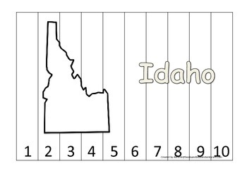 Idaho Number Sequence Puzzle.  Learn the States preschool