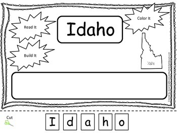 Idaho Read it, Build it, Color it Learn the States prescho