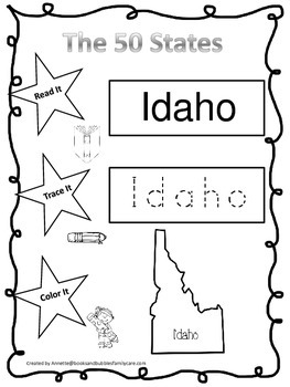 Idaho Read it, Trace it, Color it Learn the States prescho