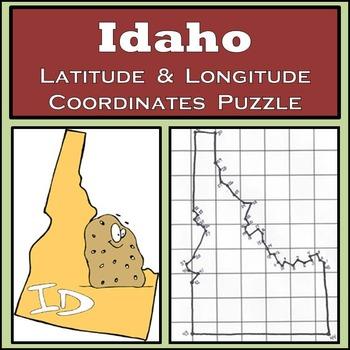 Idaho State Latitude and Longitude Coordinates Puzzle - 45