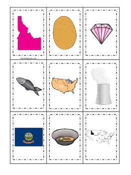 Idaho themed Memory Matching and Word Matching preschool c
