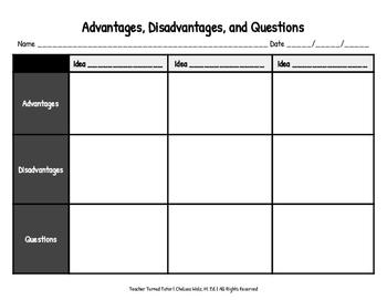 Ideas: Advantages, Disadvantages, & Questions {Matrix}