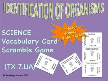 Identification of Organisms: Vocabulary Card Scramble Game