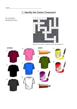 English Vocabulary - Identify Colors - Crossword