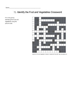 English Vocabulary - Identify Fruit and Vegetables - Crossword