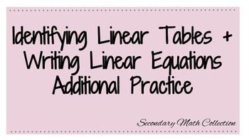 Identify Linear Equations and Writing Linear Equations Wor