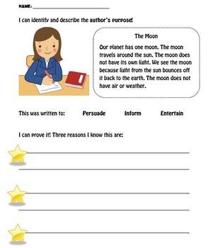 Identify and Describe Author's Purpose