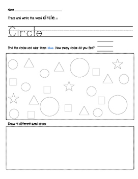 Identify and Name Circles Activity