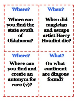 Identify and Using Sources Bingo