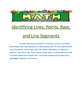 Identify lines, points, rays, line segments center