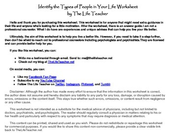 Identify the Types of People in Your Life Worksheet