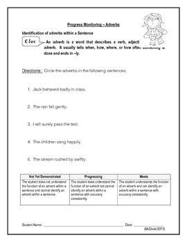 Identifying Adverbs (Bundle 1)  - IEP Goal Progress Monitoring