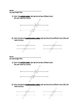 Identifying Angle Pairs Do Now