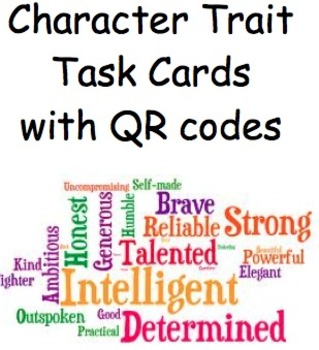 Identifying Character Traits Task Cards with QR codes