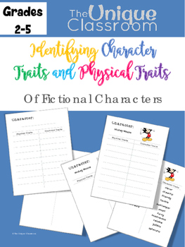 Identifying Character Traits and Physical Traits Chart Set