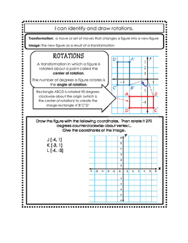 Identifying & Drawing Rotations Doodle Notes