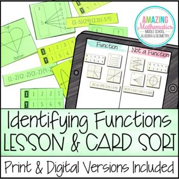 Identifying Functions - Notes, Card Sort Activity, & Homework