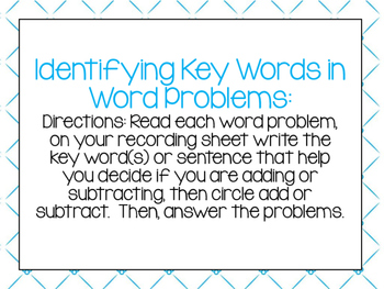 Identifying Key Words in Addition and Subtraction Word Problems
