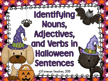 Identifying Nouns, Adjectives, and Verbs - Halloween Version