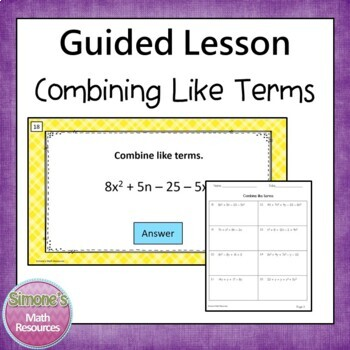 Combining Like Terms PPT Lesson  6.EE.3