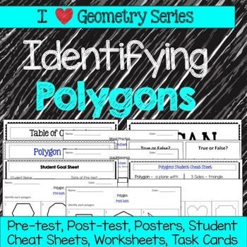 Polygons Unit -Pretests, Post-tests, Posters, Cheat Sheets