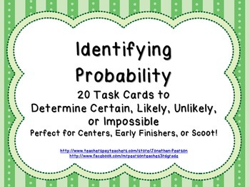 Identifying Probability Task Cards - 20 Task Cards for Pra