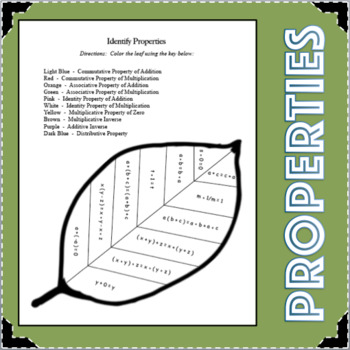 Identifying Properties Algebra Student Activity Center Mat