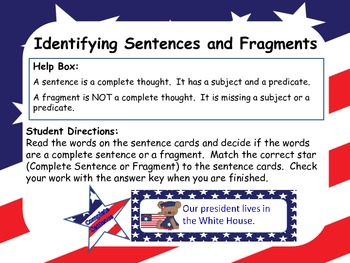 Identifying Sentences and Fragments-Patriotic Theme