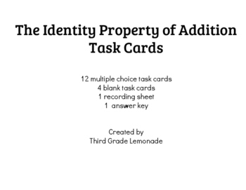 Identity Property of Addition Task Cards