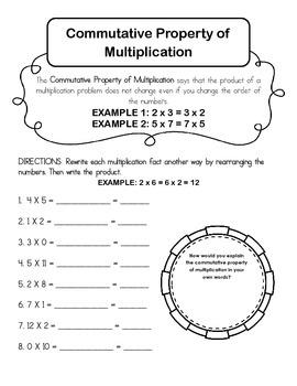 Commutative Property of Multiplication Worksheet