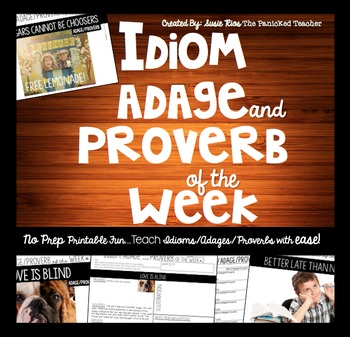 Idiom, Adage, and Proverb of the Week