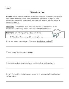 Idiom Practice Worksheet