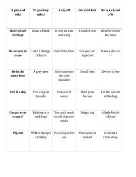 Idiom cards with qr code descriptors
