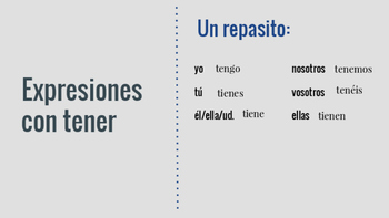 Idiomatic Expressions with Tener PPT (Expresiones idiomáti