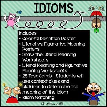 Idioms Bundle With 28 Idioms Task Cards + Figurative & Lit
