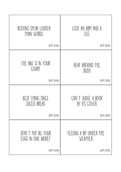 Idioms Match-Up Cards