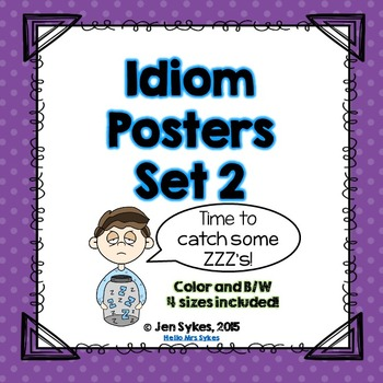 Idioms Posters #2 Color, Black and White | 4 sizes included!