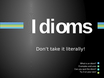 Idioms Powerpoint includes Matching Game, Try It, and On Your Own