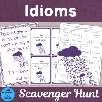 Idioms Scavenger Hunt with extras