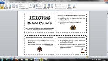 Idioms Task Cards - Common Core RL.3.4 - Figurative Language
