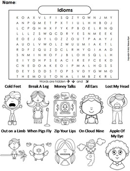 Idioms Worksheet/ Color-In Word Search 2nd 3rd 4th 5th 6th