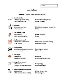 Idioms - multiple choice with pictures